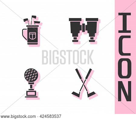 Set Crossed Golf Club, Golf Bag With Clubs, Award Cup And Binoculars Icon. Vector