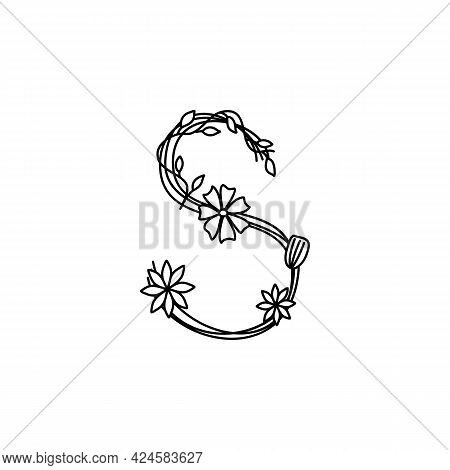 Vintage Floral Bold Letter S Logo Spring. Classic Summer Letter Design Vectors With Black Color And