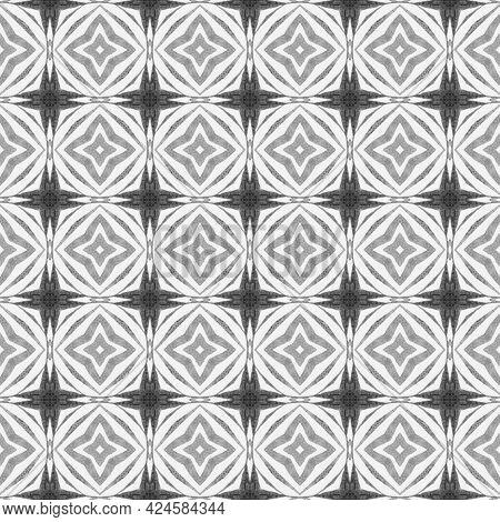 Textile Ready Uncommon Print, Swimwear Fabric, Wallpaper, Wrapping. Black And White Fantastic Boho C