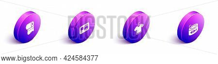 Set Isometric Toilet Paper Roll, Identification Badge, T-shirt And Canned Fish Icon. Vector