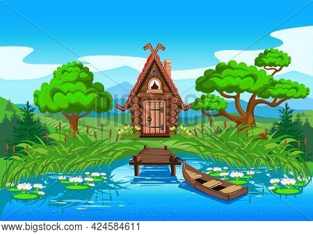 Fairy Tale House Made Of Logs On The Shore Of A Beautiful Lake. A Pier And A Boat Not Far From The H