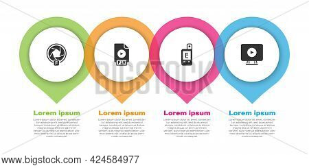 Set Camera Shutter, Flv File Document, Light Meter And Online Play Video. Business Infographic Templ