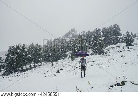 Unseasonable Crazy Guy With Violet Umbrella Stands On Snowy Mountain In Snowfall On Background Of Co