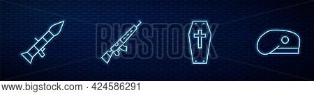 Set Line Coffin With Cross, Rocket Launcher, Sniper Rifle Scope And Military Beret. Glowing Neon Ico