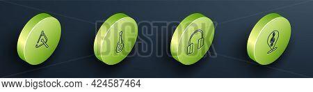 Set Isometric Line Triangle, Guitar, Headphones And Treble Clef Icon. Vector