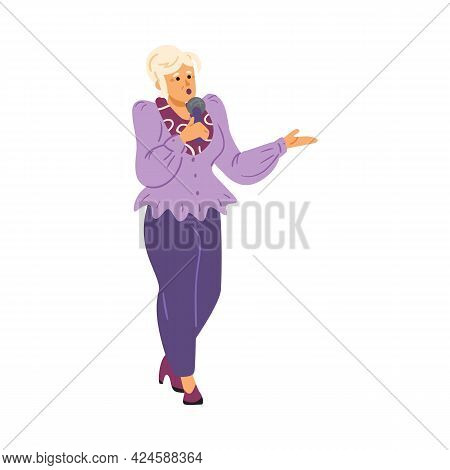 Aged Female Singer With Microphone Sing Of Old Songs At Karaoke Or Music Party