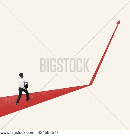 Successful Businessman Running Up The Arrow, Path To Success And Goal. Right Direction