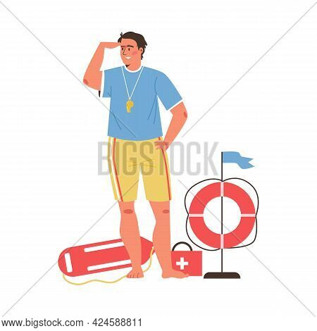 Lifeguard Man With Various Rescue Equipment, Flat Vector Illustration Isolated.