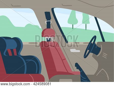 Empty Car Cabin Interior With Child Safety Seat, Flat Vector Illustration. Driverless Electric Car O