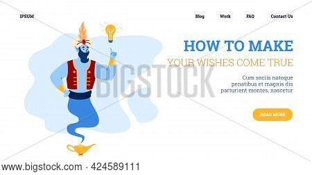 Website Or Landing Page With Smiling Genie, Cartoon Vector Illustration.