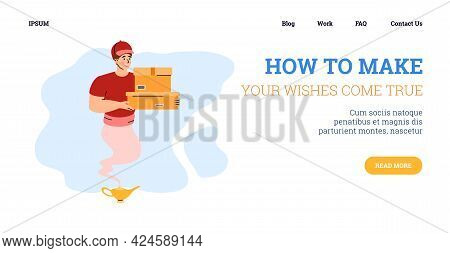 Website Page With Genie In Uniform Of Courier, Cartoon Vector Illustration.