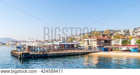 Istanbul, Turkey - April 27, 2017: Marmara Sea, Kinaliada Island Ferry Terminal With Summer Houses,