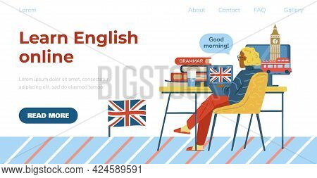 English Online Web Banner With Woman Studying English, Flat Vector Illustration.