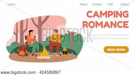 Camping Website Banner With Couple Resting At Campsite Flat Vector Illustration.