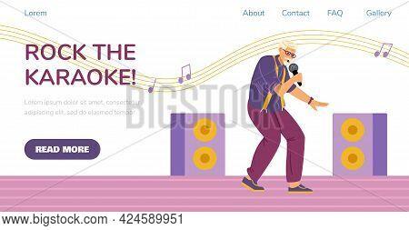 Karaoke Party Website Layout With Elderly Man Singing, Flat Vector Illustration.