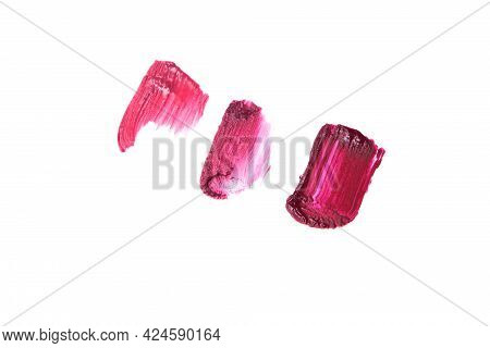 Collection Of Various Smears Lipstick Texture Paint On White Background.