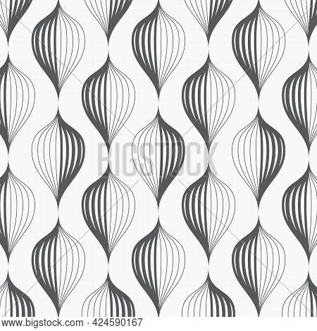 Linear Vector Pattern, Repeating Linear Abstract Leaves Or Abstract Flower On Garland. Pattern Is On