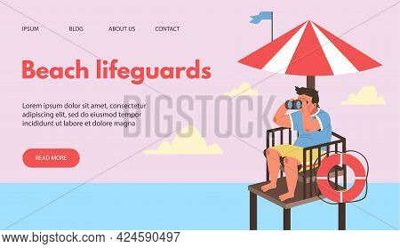Beach Lifeguards Site Mockup With Rescuer On Tower, Flat Vector Illustration.