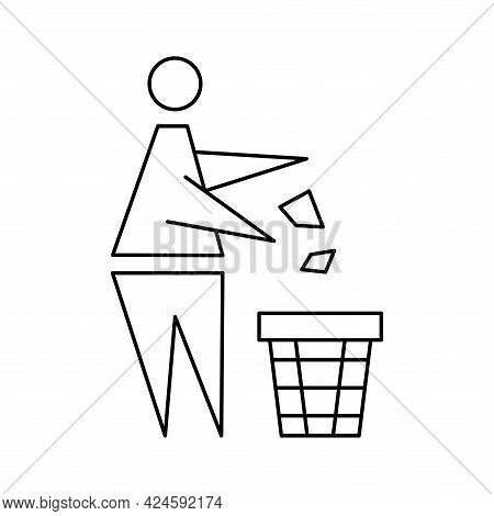 Keeping The Clean. Forbidden Icon. Pitch In Put Trash In Its Place. Tidy Man Or Do Not Litter, Symbo