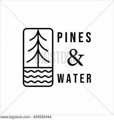 Water And Pines Line Art Minimalist Vector Logo Illustration Design. Adventure Simple Icon Logo Conc