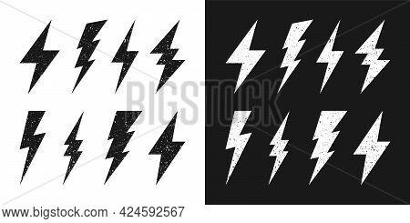 Black And White Lightning Bolt Icons With Grunge Texture. Vintage Flash Symbol, Thunderbolt. Simple