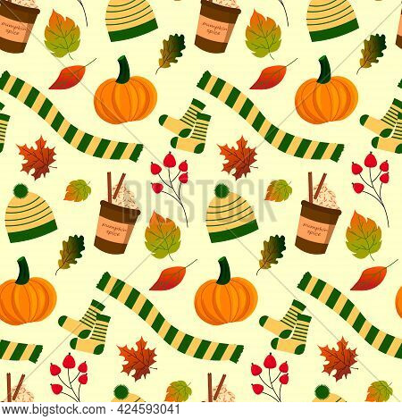 Patterns Of Coffee, Pumpkin, Autumn Attributes - Hat, Scarf And Leaves. Vector Illustration. For Pri
