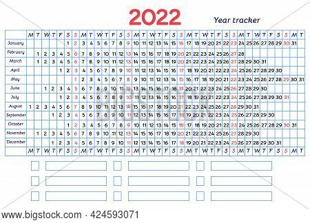 Calendar Mood And Habit Tracker Grid 2022 Year. Vector Design With Blue Line And Red Sundays. Table