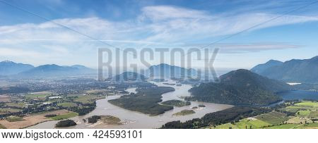 Panoramic View Of Fraser Valley From Top Of The Mountain. Canadian Nature Landscape Background. Harr