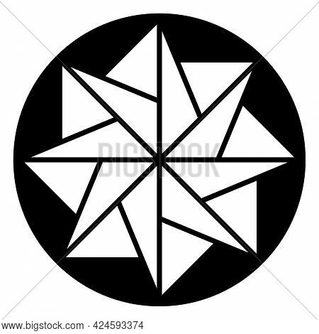 Eight-pointed Star In A Circle, A Pattern, Formed By Symmetric Arranged Triangles. A Mandala-like Sy