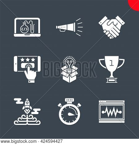 Seo Related Vector Glyph Icons Set. Victory Strategy, Creative Package, Customer Reviews, Award, Pro