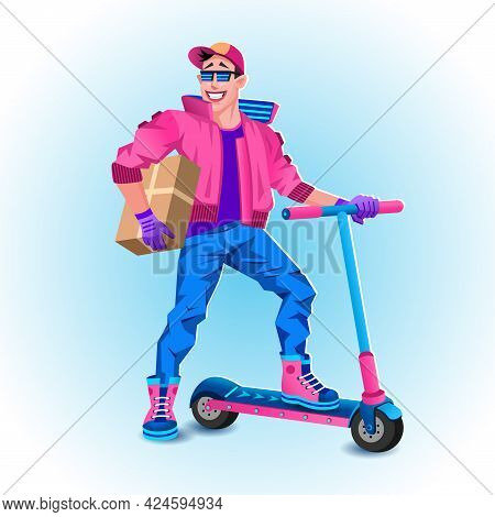 Courier On Electric Scooter With Package Box. Delivery Service Concept. Vector Illustration