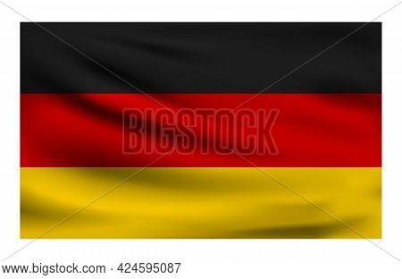 Realistic National Flag Of Germany. Current State Flag Made Of Fabric. Vector Illustration Of Lying
