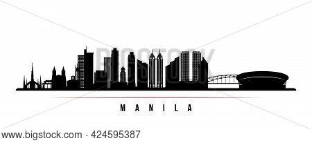 Manila Skyline Horizontal Banner. Black And White Silhouette Of Manila, Philippines. Vector Template