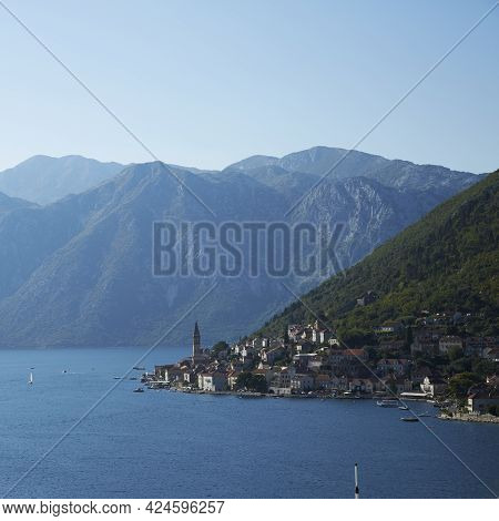 A View Of The Montenegrin Coastline From The Waters Of The Adriatic Sea