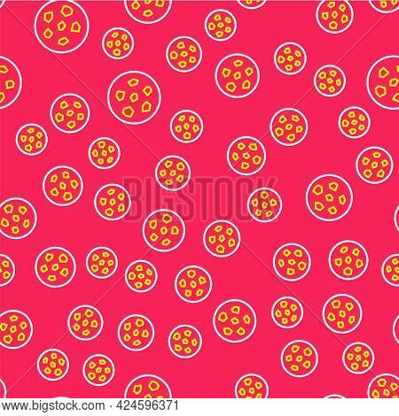 Line Cookie Or Biscuit With Chocolate Icon Isolated Seamless Pattern On Red Background. Vector