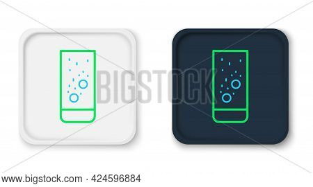 Line Effervescent Aspirin Tablets Dissolve In A Glass Of Water Icon Isolated On White Background. Co