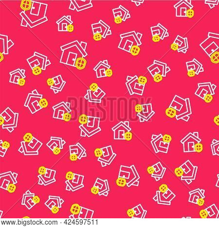 Line House Under Protection Icon Isolated Seamless Pattern On Red Background. Home And Shield. Prote