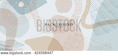 Abstract Background Art With Color Shapes On Background. Web Or Wall Art Decor. Boho Style Minimalis