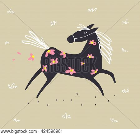 Wild Abstract Horse Running In The Field With Flowers, Scandinavian Style Doodle Freehand Animal Mon