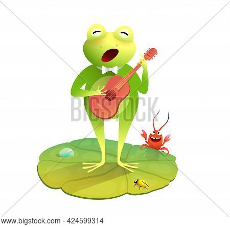 Cute Frog Or Toad Singing And Playing Guitar, Fun Animal Concert Cartoon For Kids With Frog Playing