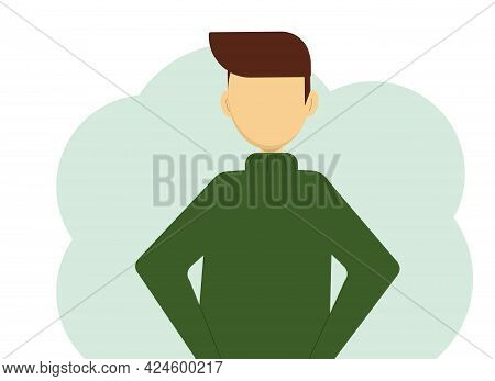 Vector Illustration Of A Man In A Warm Dark Green Knitted Sweater