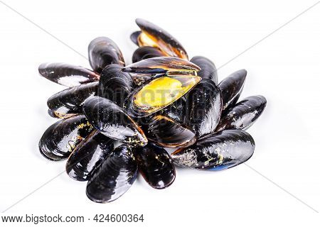 Half-opened Mussel Shell Fish On White Background
