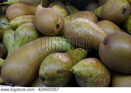 Fresh Pears. Juicy Pear. Fruits On Market. Ripe Pears