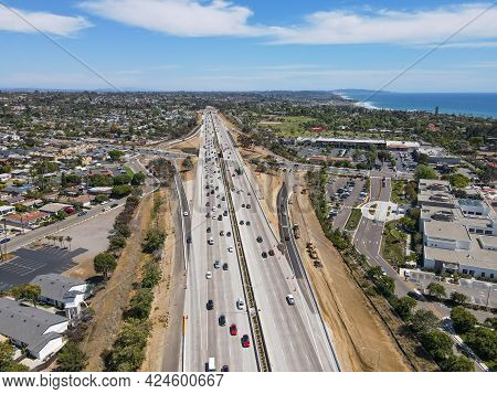 Aerial View Of Highway Transportation With Small Traffic, Highway Interchange And Junction, San Dieg