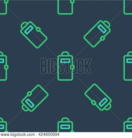 Line Police Assault Shield Icon Isolated Seamless Pattern On Blue Background. Vector