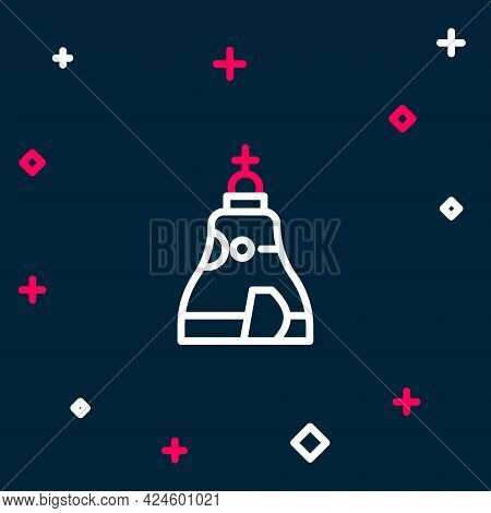 Line The Tsar Bell In Moscow Monument Icon Isolated On Blue Background. Colorful Outline Concept. Ve