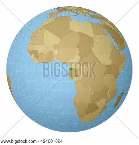 Globe Centered To Equatorial Guinea. Country Highlighted With Green Color On World Map. Satellite Pr