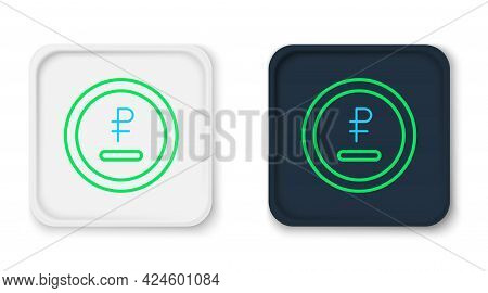 Line Rouble, Ruble Currency Coin Icon Isolated On White Background. Russian Symbol. Colorful Outline