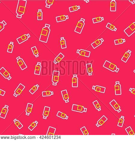 Line Fitness Shaker Icon Isolated Seamless Pattern On Red Background. Sports Shaker Bottle With Lid