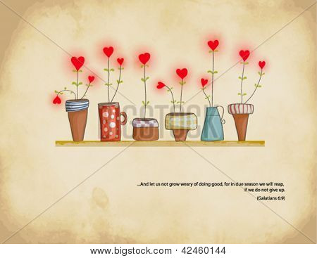 Planted Hearts - Set of colorful flowerpots with hearts in bloom, against a weathered neutral background